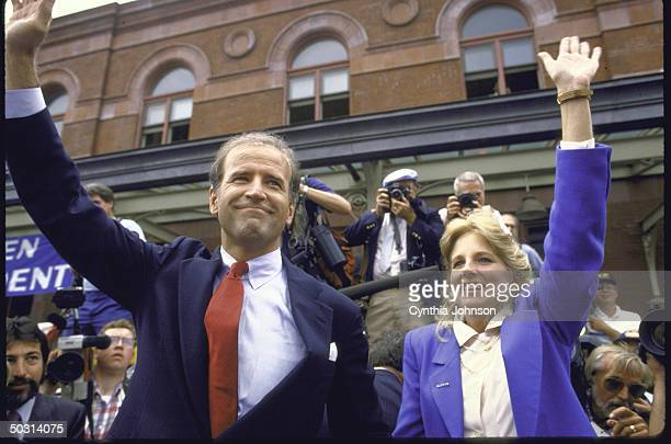 Sen Joseph R Biden Jr and wife Jill waving to crowd after he announced his candidacy for the Democratic presidential nomination