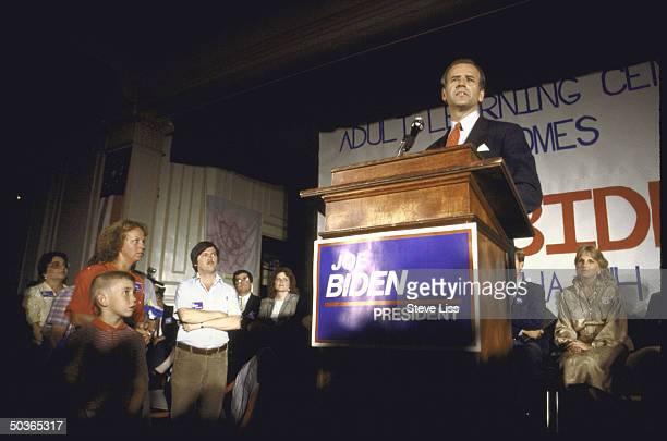 Sen Joseph R Biden Jr announcing his bid for 1988 Democratic presidential nomination as wife Jill looks on