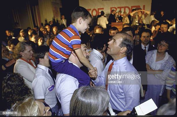 Sen Joseph R Biden Jr campaigning at an adult education center after announcing his bid for 1988 Democratic presidential nomination