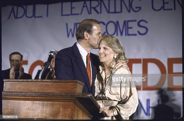 Sen Joseph R Biden Jr kissing wife Jill's forehead after announcing his bid for 1988 Democratic presidential nomination
