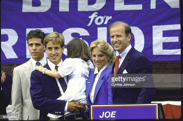 Sen. Joseph R. Biden Jr. Standing with his family after announcing his candidacy for the Democratic presidential nomination.