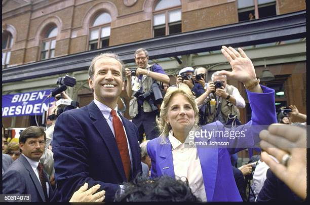 Sen Joseph R Biden Jr standing with his wife Jill after announcing his candidacy for the Democratic presidential nomination