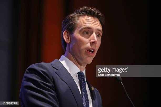 Sen Josh Hawley addresses the Faith and Freedom Coalition's Road to Majority Policy Conference at the US Capitol Visitor's Center Auditorium June 27...