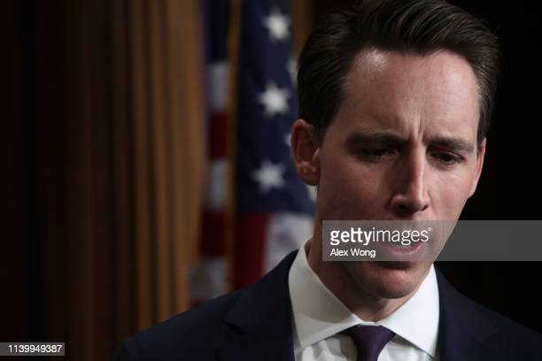 S Sen Josh Hawley speaks during a news conference at the US Capitol April 2 2019 in Washington DC Sen Rick Scott held a news conference to discuss...
