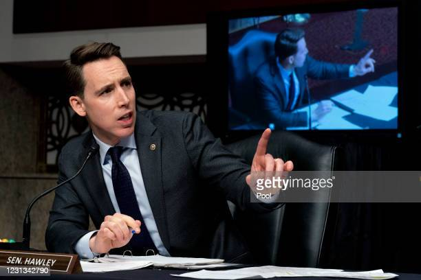 Sen. Josh Hawley speaks during a Senate Homeland Security and Governmental Affairs & Senate Rules and Administration joint hearing on February 23,...