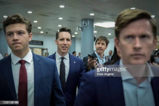 Sen. Josh Hawley walks through the Senate subway after a vote on Capitol Hill May 27, 2021 in Washington, DC. The mother of late Capitol Police...