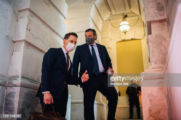 Sen. Josh Holly , and Sen. Ted Cruz speak together at the conclusion of former President Donald Trump's impeachment trial at the U.S. Capitol on...