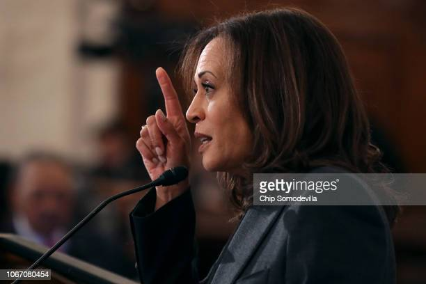 Sen Kamala Harris addresses a postmidterm election meeting of Rev Al Sharpton's National Action Network in the Kennedy Caucus Room at the Russell...