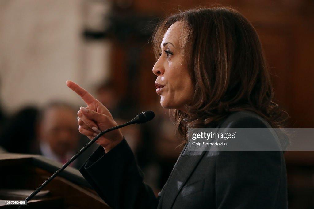 Democratic Senators Speak About Their Legislative Agenda To A Meeting Of Al Sharpton's National Action Network In DC : News Photo