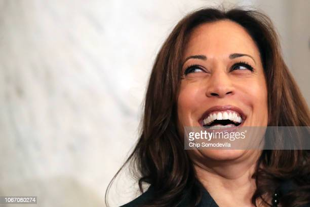 Sen. Kamala Harris attends a post-midterm election meeting of Rev. Al Sharpton's National Action Network in the Kennedy Caucus Room at the Russell...
