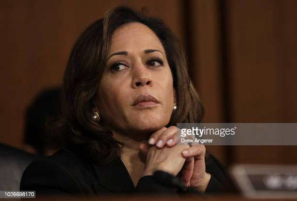 Sen. Kamala Harris delivers listens as Supreme Court nominee Judge Brett Kavanaugh appears for his confirmation hearing before the Senate Judiciary...