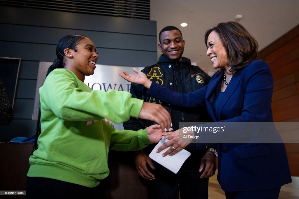 Sen. Kamala Harris Speaks At Her Alma Mater Howard University : News Photo