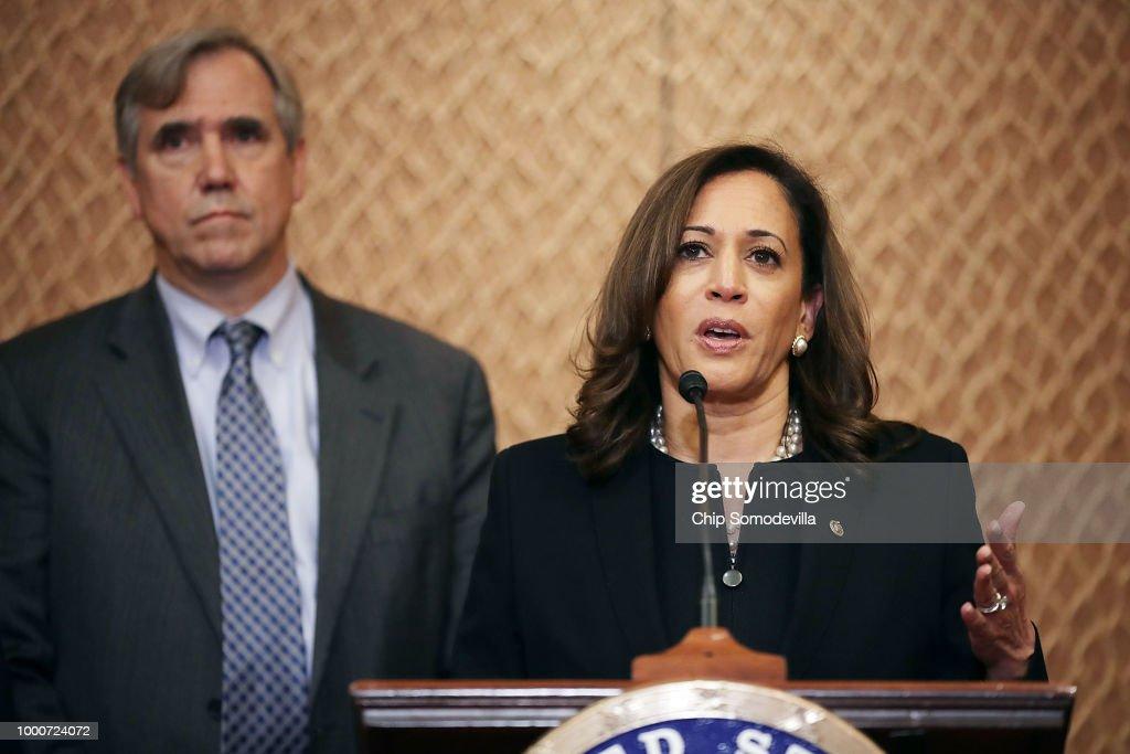 Sen. Kamala Harris, Sen. Merkley, And Sen. Cortez Masto Introduce An Immigrant Family Reunification Bill : News Photo
