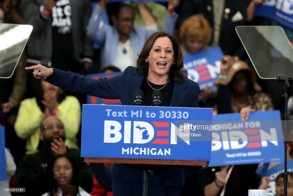 Sens. Kamala Harris And Cory Booker Join Candidate Joe Biden At Michigan Campaign Rally On Eve Of Primary : News Photo
