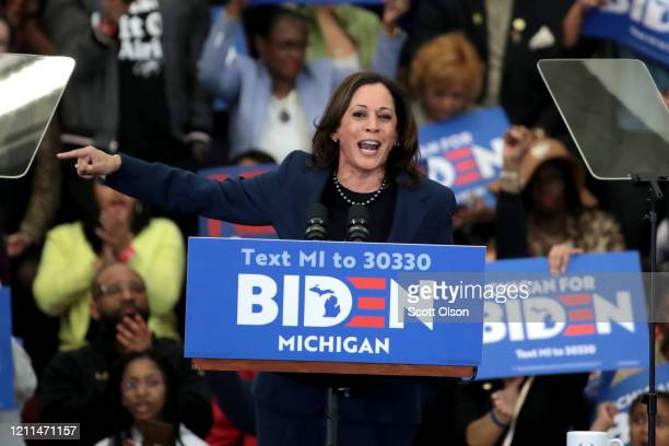 Sen. Kamala Harris introduces Democratic presidential candidate former Vice President Joe Biden at a campaign rally at Renaissance High School on...
