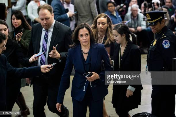 Sen Kamala Harris leaves a briefing with administration officials about the situation with Iran at the US Capitol on January 8 2020 in Washington DC...