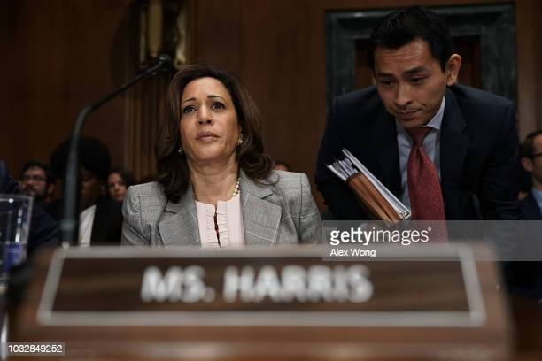 S Sen Kamala Harris participates in a markup hearing before the Senate Judiciary Committee September 13 2018 on Capitol Hill in Washington DC A...