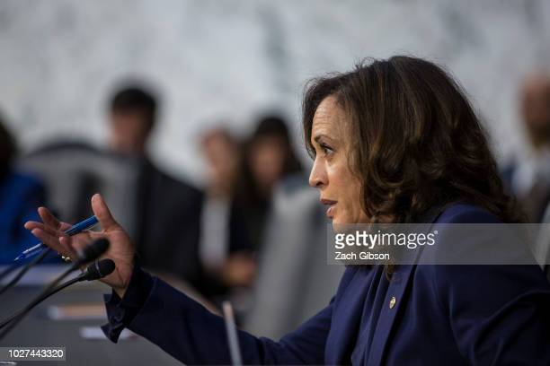 Sen Kamala Harris questions Supreme Court Nominee Brett Kavanaugh during the second day of his Supreme Court confirmation hearing on Capitol Hill...