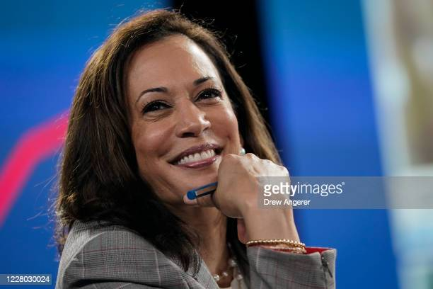 Sen. Kamala Harris , running mate of Presumptive Democratic presidential nominee former Vice President Joe Biden, attends a coronavirus briefing at a...