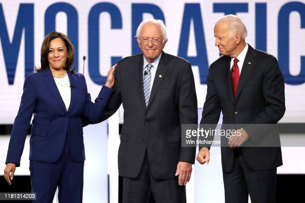 Sen Kamala Harris Sen Bernie Sanders and former Vice President Joe Biden enter the stage before the Democratic Presidential Debate at Otterbein...