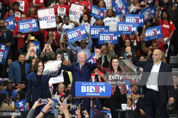 Sen Kamala Harris Sen Cory Booker and Michigan Governor Gretchen Whitmer join Democratic presidential candidate former Vice President Joe Biden on...