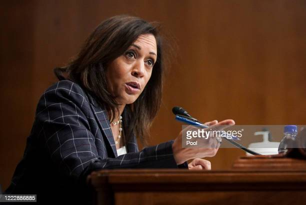 Sen. Kamala Harris speaks at a hearing of the Homeland Security Committee attended by acting U.S. Customs and Border Protection Commissioner Mark...