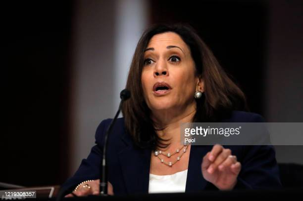 Sen. Kamala Harris speaks at a hearing of the Judiciary Committee considering authorization for subpoenas relating to the Crossfire Hurricane...