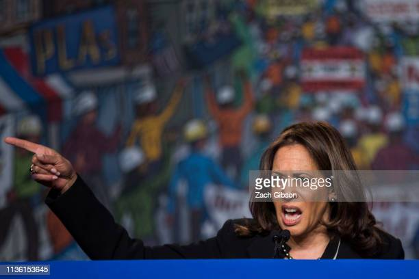 Sen Kamala Harris speaks during the North American Building Trades Unions Conference at the Washington Hilton April 10 2019 in Washington DC Many...