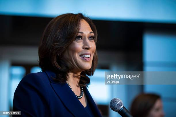 Sen. Kamala Harris speaks to reporters after announcing her candidacy for President of the United States, at Howard University, her alma mater, on...