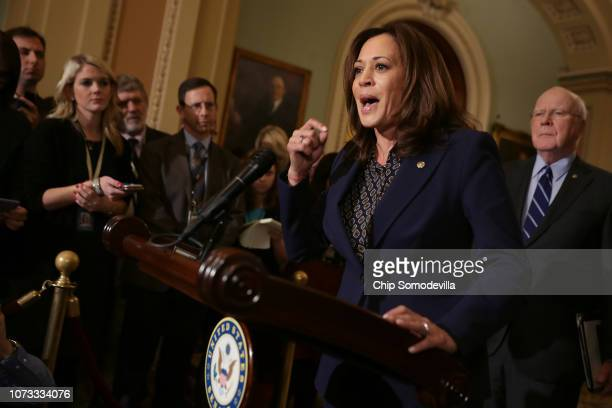 Sen Kamala Harris talks to reporters with Sen Patrick Leahy following the weekly Democratic Senate policy luncheon in the US Capitol November 27 2018...