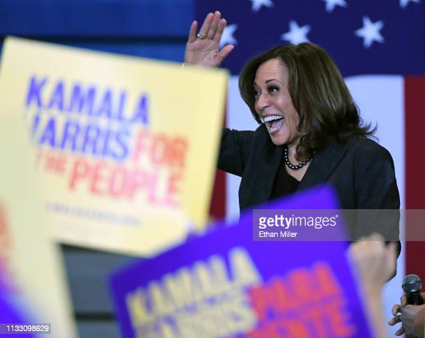 S Sen Kamala Harris waves as she is introduced at a town hall meeting at Canyon Springs High School on March 1 2019 in North Las Vegas Nevada Harris...