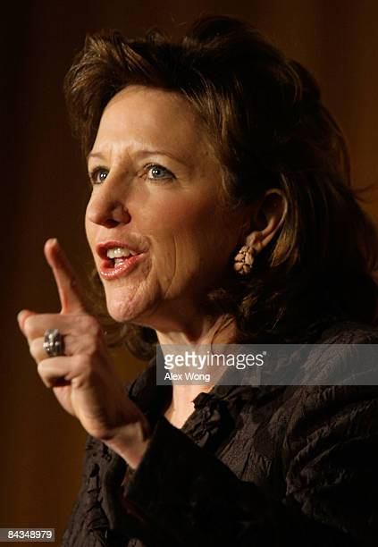 S Sen Kay Hagan addresses a luncheon of Emily's List at the Hilton Washington Hotel January 18 2009 in Washington DC Emily's List a prochoice group...