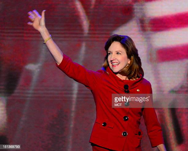 Sen Kay Hagan comes on stage at the 2012 Democratic National Convention in Times Warner Cable Arena Thursday September 6 2012 in Charlotte North...