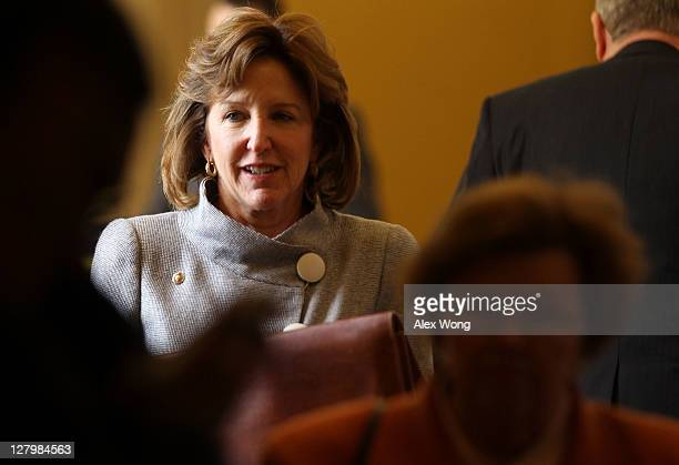 S Sen Kay Hagan comes out from the weekly policy luncheon October 4 2011 on Capitol Hill in Washington DC Senate Republicans' attempt to bring...