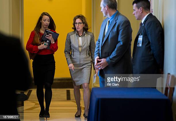 Sen Kay Hagan DNC arrives for the Senate Democrats' meeting on Obamacare with White House Chief of Staff Denis McDonough in the Capitol on Thursday...