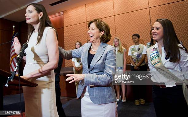 Sen Kay Hagan DNC center shares a laugh with Geena Davis actor and founder of the Geena Davis Institute on Gender in the Media as Girl Scout Katie...