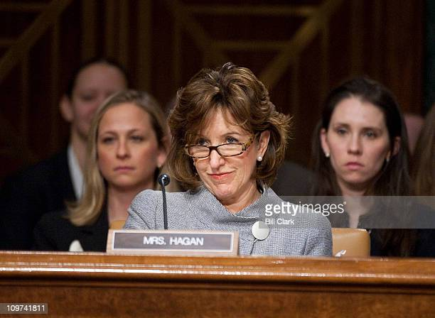 Sen Kay Hagan DNC listens to opening statements during the Senate Armed Services Committee hearing on the nomination for Gen Martin Dempsey's...