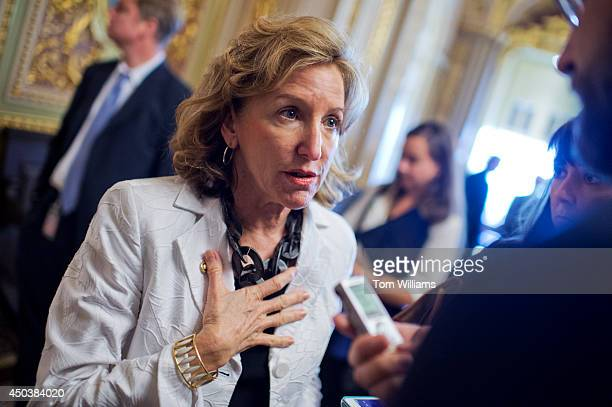 Sen Kay Hagan DNC speaks to the media in the Capitol's Senate Reception Room before the senate luncheons June 10 2014