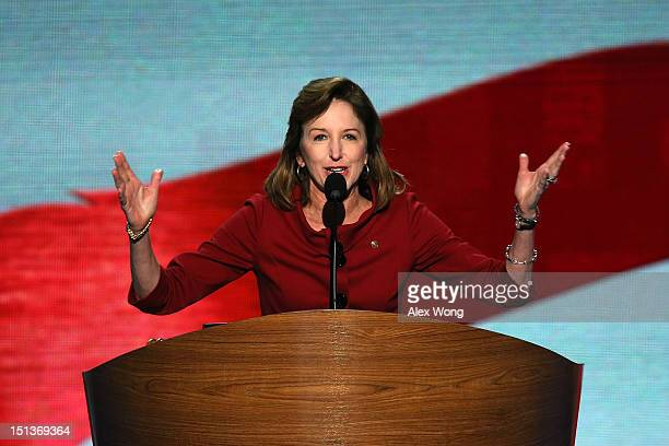S Sen Kay Hagan speaks during the final day of the Democratic National Convention at Time Warner Cable Arena on September 6 2012 in Charlotte North...