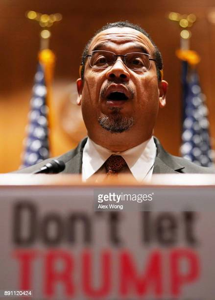 S Sen Keith Ellison speaks during a news briefing December 12 2017 on Capitol Hill in Washington DC US Sen Jeff Merkley spoke on the Labor...