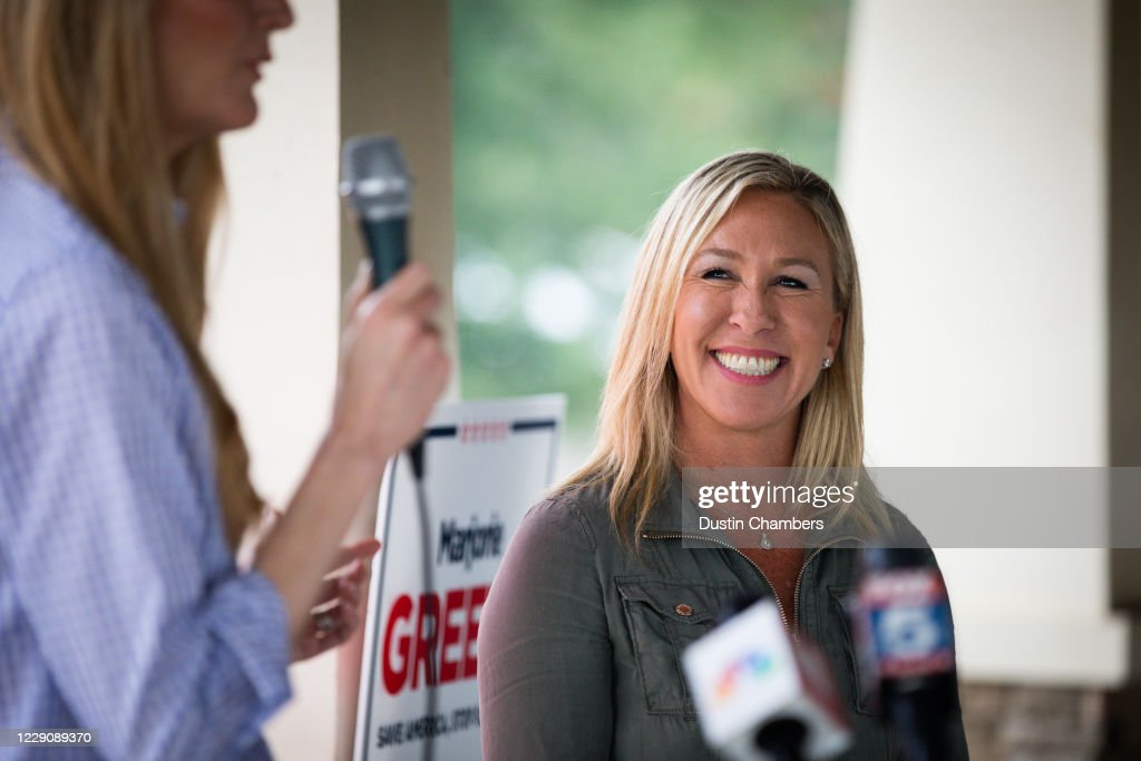 Sen. Kelly Loeffler (R-GA) And House Candidate Marjorie Taylor Greene (R-GA) Hold Campaign Event In Dallas, Georgia : News Photo
