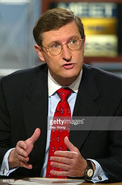 Sen Kent Conrad Chairman of the Senate Budget Committee talks about the spending and war on terrorism on NBC's 'Meet the Press' June 9 2002 during a...