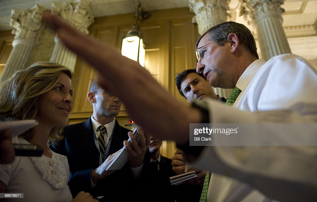 Sen. Kent Conrad, D-N. Dak., speaks with reporters about gas prices as he leaves the Senate Floor in the Capitol on Tuesday, July 8, 2008.