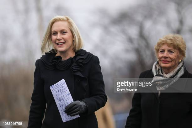 Sen Kirsten Gillibrand and her mother Polly Edwina Rutnik arrive at the Country View Diner for a media availability to announce she will run for...