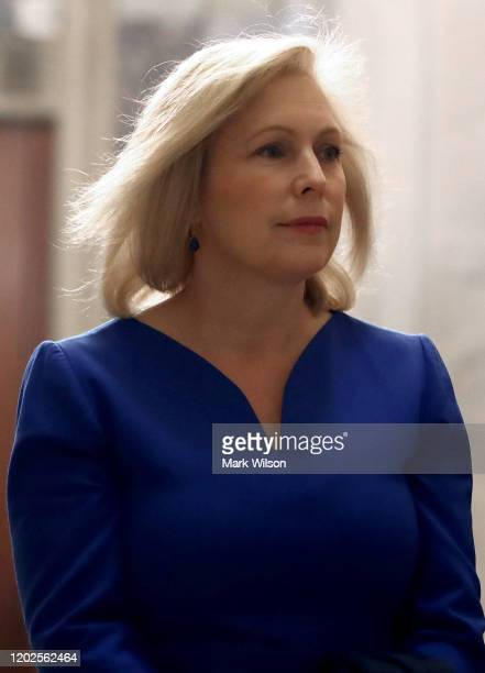 Sen Kirsten Gillibrand arrives at the US Capitol for President Donald Trumps Senate impeachment trial on January 28 2020 in Washington DC Today at...