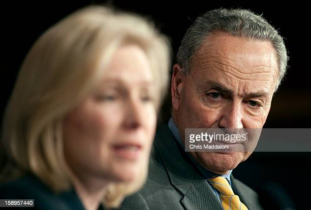 Sen Kirsten Gillibrand DNY and Sen Chuck Schumer DNY speak at a press conference about the Senate's passage of a bill that would allow insurance...
