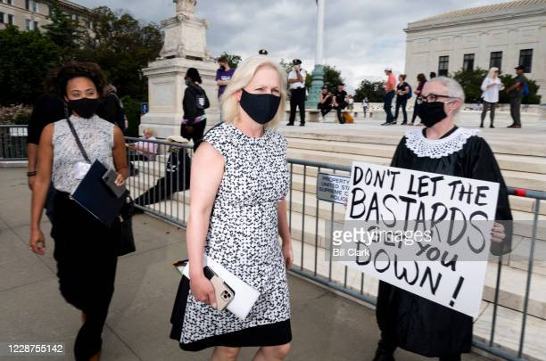 Sen Kirsten Gillibrand DNY arrives to speak to protesters rallying against President Donald Trumps Supreme Court nominee Amy Coney Barrett on Sunday...