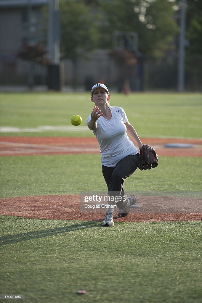 Sen. Kirsten Gillibrand, D-NY., during practice for the Congressional Womens Softball Game at Watkins Elementary in Washington, D. C. on June 20, 2013. The bi-partisan group of women Members of Congress take the field against the the women of the DC Press Corps to raise funds and awareness for young women with breast cancer and will be played on Wednesday, June 26, 2013.
