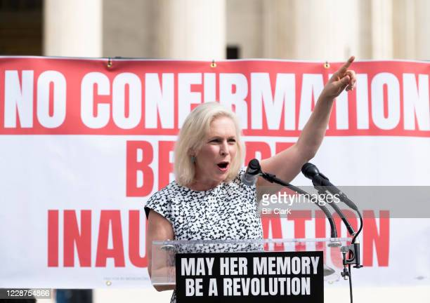 Sen Kirsten Gillibrand DNY speaks to protesters rallying against President Donald Trumps Supreme Court nominee Amy Coney Barrett on Sunday afternoon...
