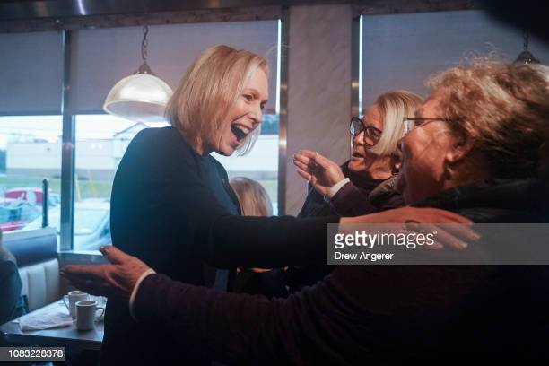 Sen Kirsten Gillibrand greets people at the Country View Diner after a media availability announcing she will run for president in 2020 January 16...